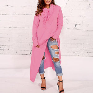 Hooded Loose Long Sleeve Plain Asymmetrical Hem Fashion Hoodies