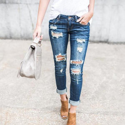 Cuffed Ripped Slim Pencil Jeans