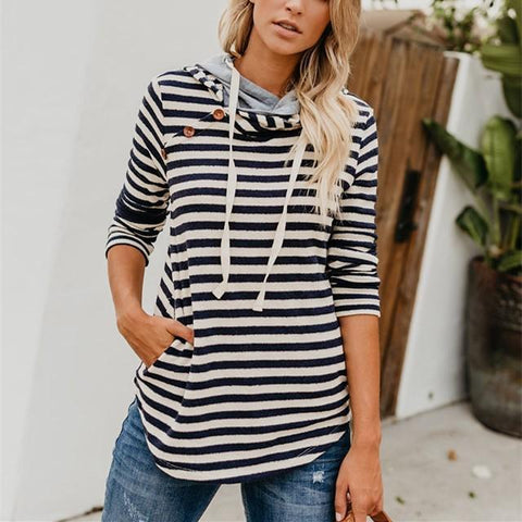 Fashion Slim Baggy Stripe Hooded Sweatshirt