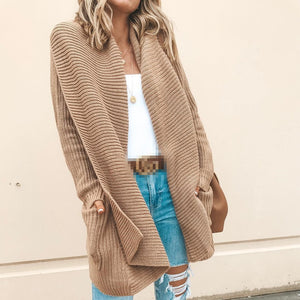 Casual Pure Colour Long Sleeve Elegant Cardigan Knitwear