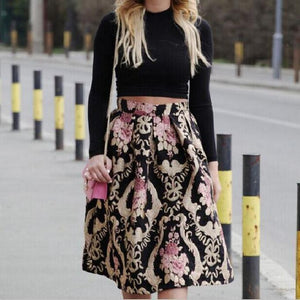 Vintage Elegant Printed Colour Skirt