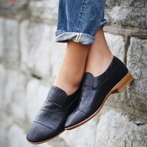 Pure Color Round-Headed Low-Heeled Shoes
