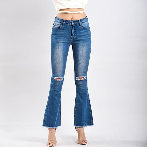 Fashion High Waist Plain Slim Pagoda Jeans Hole  Pants