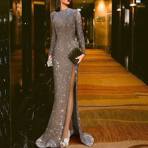 Elegant Silver Split Sexy Round Neck Evening Dress