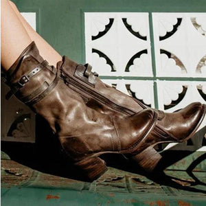 New Leather Boots Women's Thick With High-Heeled Knight Boots Belt Buckle High Boots