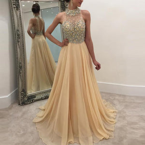 Casual Sleeveless Halter Sequins Chiffon Evening Dresses