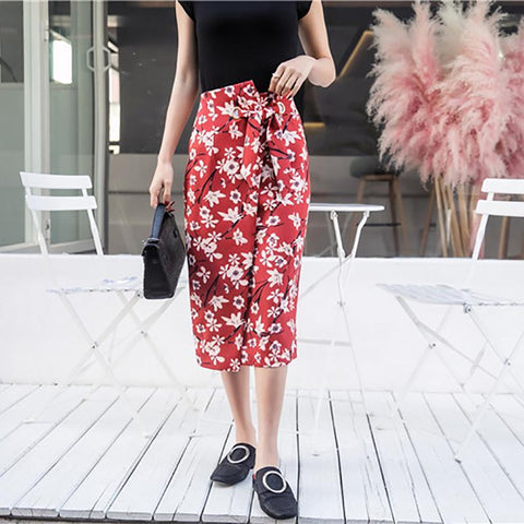 Casual Floral Printed Colour Asymmetric Skirt