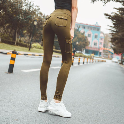 Casual High-Waist Pure Colour Elastic Yoga Pant