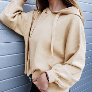 Casual Round Neck Pure Colour Long Sleeve Hoodie