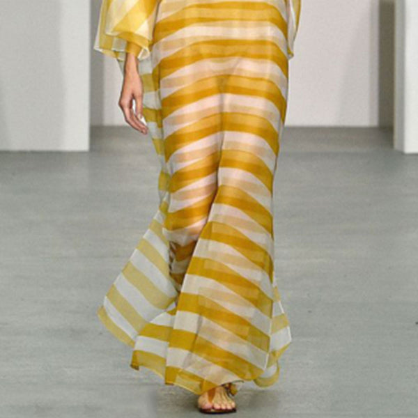 Fashion Loose Stripe Long Sleeve Yellow Maxi Dresses for Women