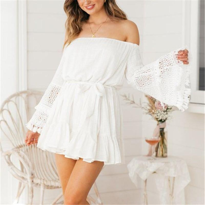 Fashion Sexy Off The   Shoulder Lace Horn Sleeve Mini Dress