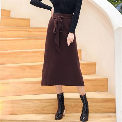 Fashion Pure Color   Long Frenulum Knit Sweater Skirt
