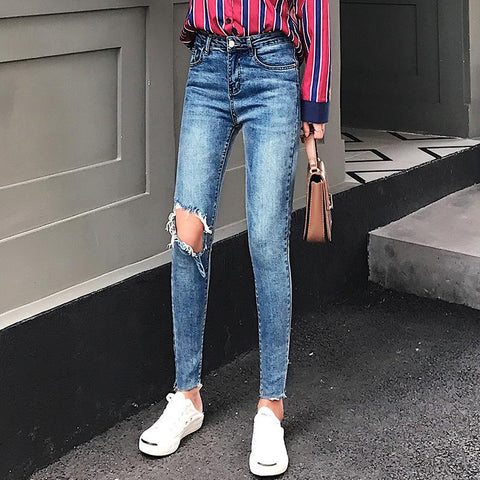 Fashion Slim Show   Thin  Elastic Skinny Ripped Jeans   Pencil Pants