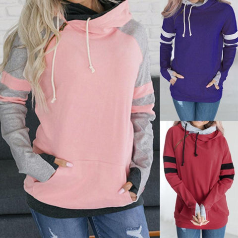 Hooded Long Sleeve Color Block Kangaroo Pocket Hoodies