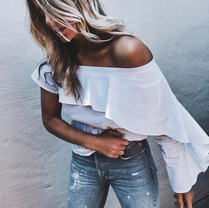 Fashion Off-Shoulder Pure Colour Shirt