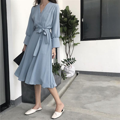 Fashion V Neck Pure Colour Belted Casual Dresses