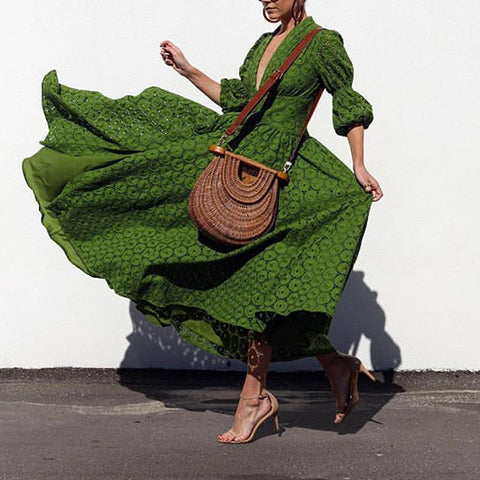 V Neck Short Sleeve Green Maxi Dresses for Women
