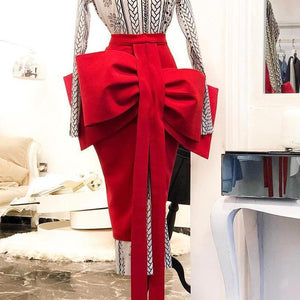 Bow Decoration Half Body Personality High Waist Skirt