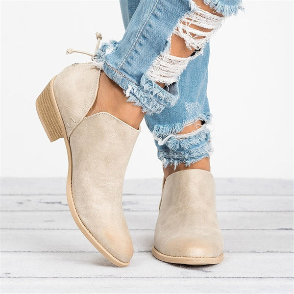 Pointed Low Heel Bare Booties