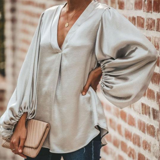 Fashion V Collar Plain Pagoda Sleeve Loose Blouse
