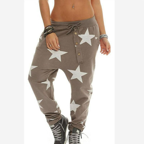 Elastic Waist Star Printed Pocket Casual Pants