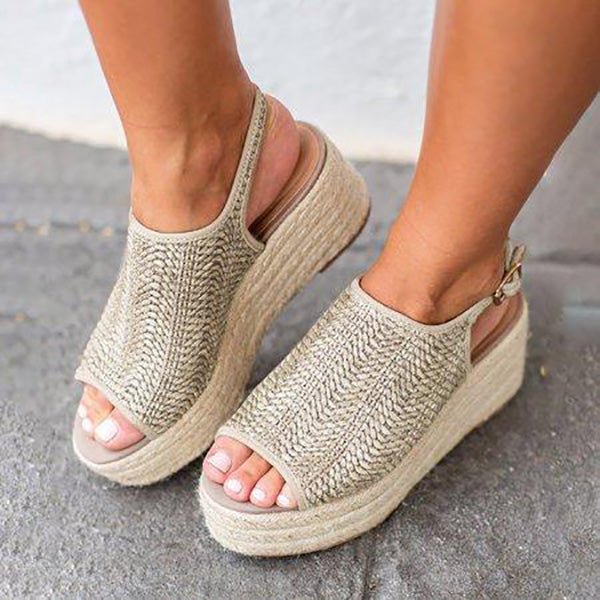 Thick-Sole Peep Toe Weaving Sandals