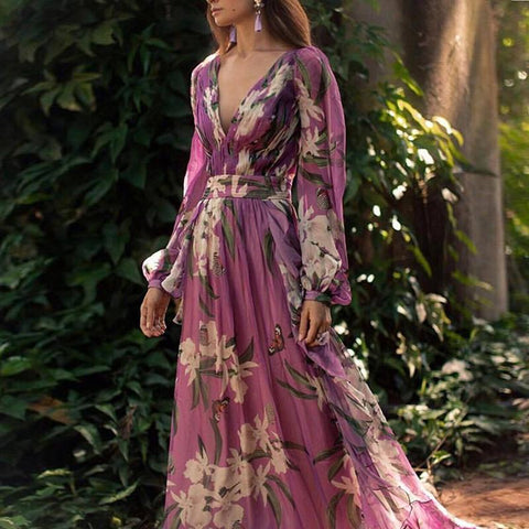 V Neck Long Sleeve Print Purple Maxi Dresses for Women