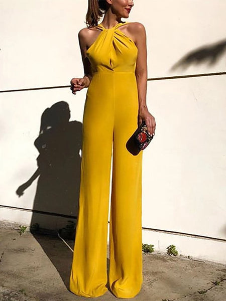 Commuting High-Waist Cross Off-Shoulder Sleeveless Jumpsuits