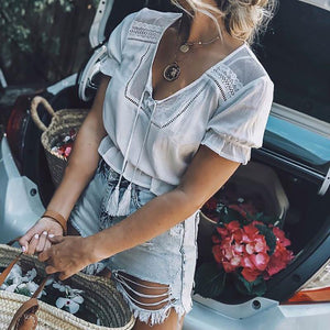 Female Pure Color V Collar Tassel Waist Short Lace Shirt
