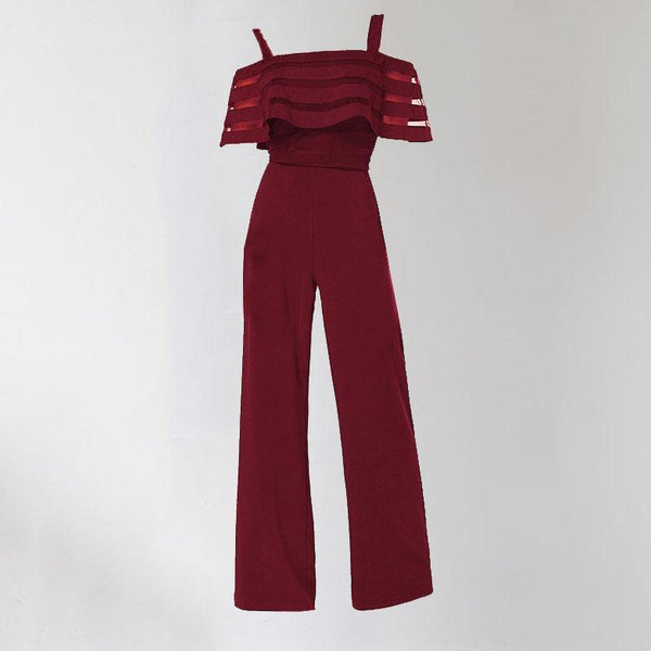Fashion Solid Color Strapless   Straps Sexy One-Piece Jumpsuit