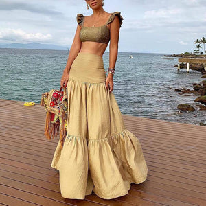 Two Pieces Sling Pleated High-Waist Yellow Maxi Dresses for Women
