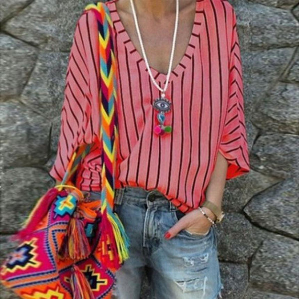 Fashion Striped V-Neck   Mid-Sleeve Loose T-Shirt Bottoming Shirt Top