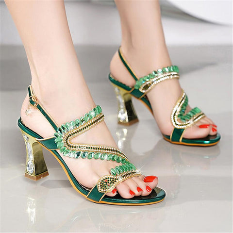 Fashion   Rhinestone Chunky Heel Sandals