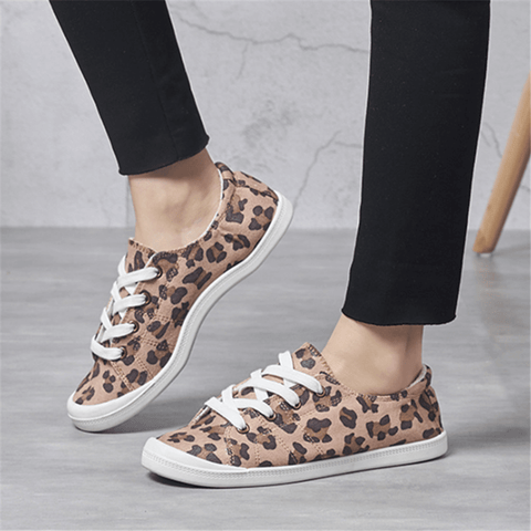 Fashion Retro   Leopard Canvas Casual Shoes