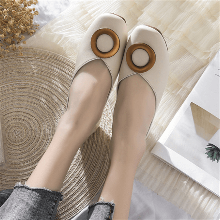 Fashion   Versatile Square Head Flat Shoes