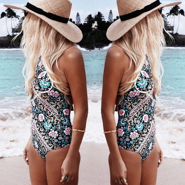 National Wind Printed Thin Triangle Linear Swimsuit