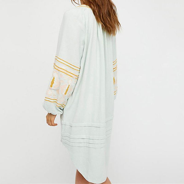 National Style Embroidery Loose Casual Long-Sleeved Dress