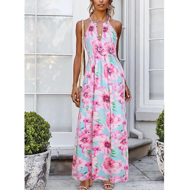 Sexy Print V Neck Sleeveless Dress