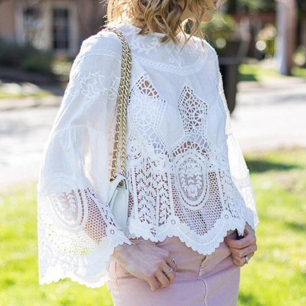 Commuting Irregular Long Sleeve Hollow Out See-Through T-Shirt
