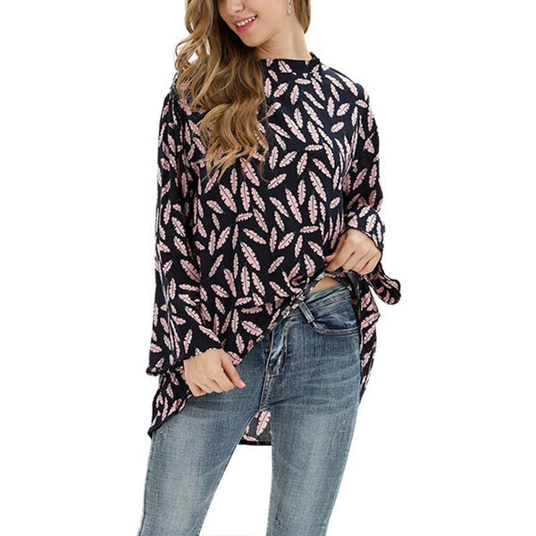 Sexy Loose Print Stand-Up Collar Bat Sleeve Long Sleeve T-Shirt