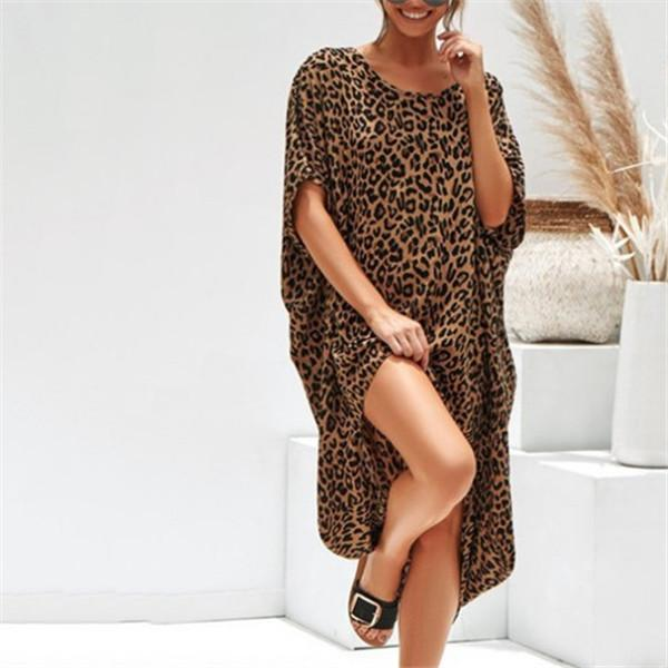 Sexy Leopard Irregularity Casual Dresses