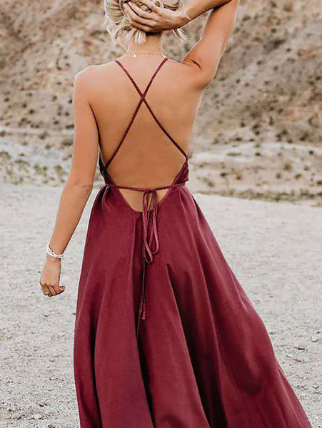Sexy Irregular Deep V Neck Belted Sleeveless Bare Back Off-Shoulder Dress