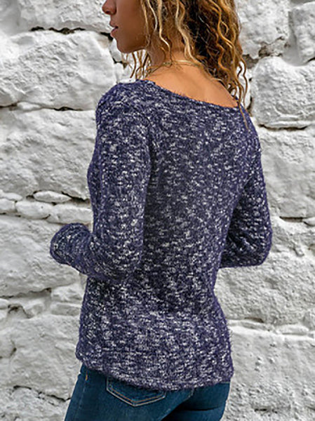 Commuting Long Sleeve Single-Breasted V Neck Sweater
