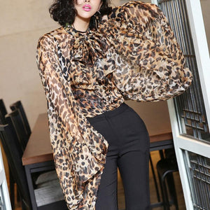 Commuting Ruffled Bishop Sleeve Leopard Print Pleated Blouse