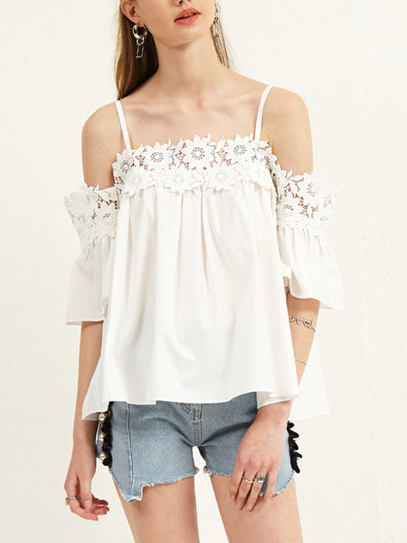 Sexy Boat Neck Lace Off-Shoulder Bare Back Hollow Out Tank Top