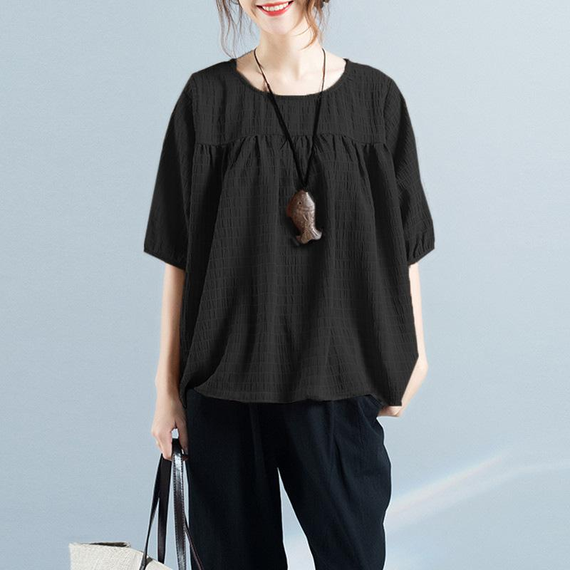 Fashion Solid Color Round Collar Loose Middle Sleeve T-Shirt