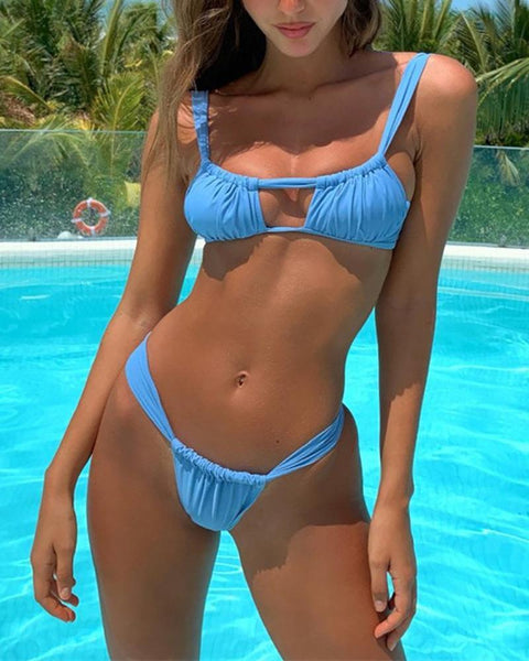 Cutout Pleated Strap Sexy Bikini