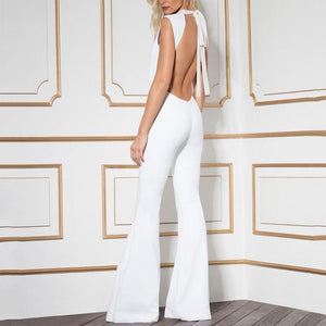 Commuting High Collar Belted Sleeveless Bare Back Jumpsuit