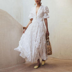 Vintage V Neck Short Sleeve White Maxi Dresses for Women