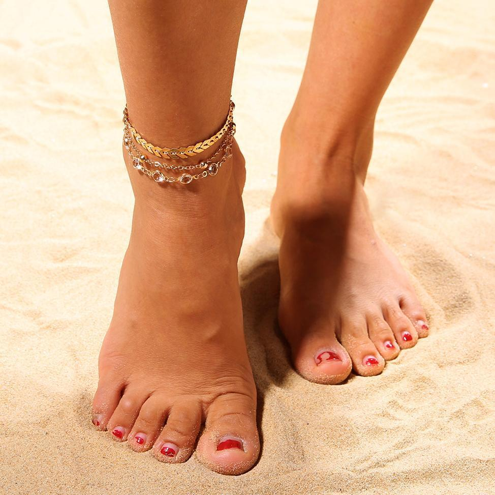 Double-Layer Chain Copper Sequins Anklet National Style Jewelry